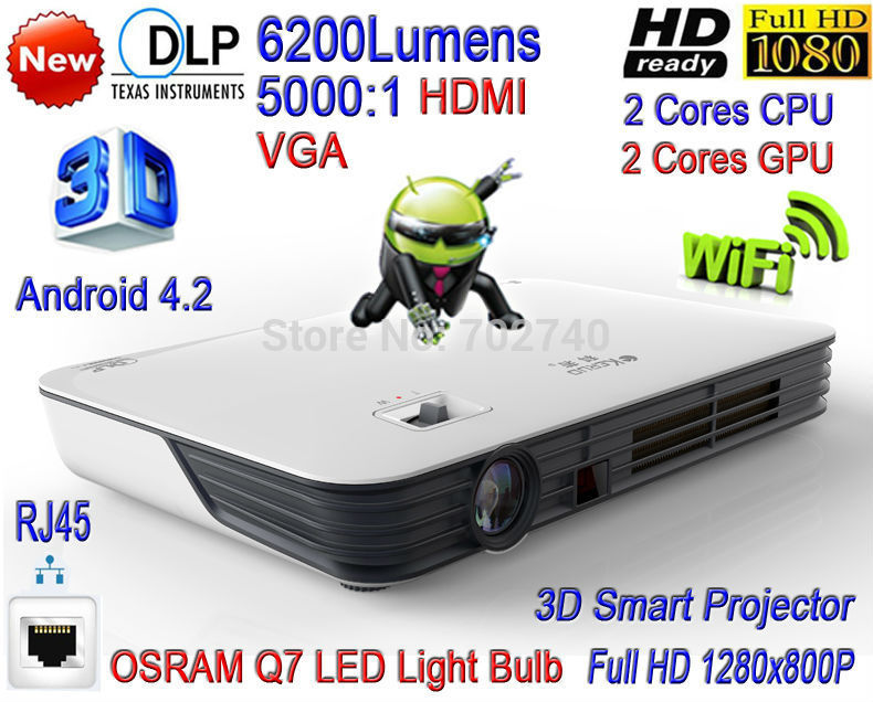 2015 Newest KERUO DLP High Brightness 6200 Lumens Home Theater Projector  Full HD 1080P 3D WiFi Android 4 2 LAN LED Projector