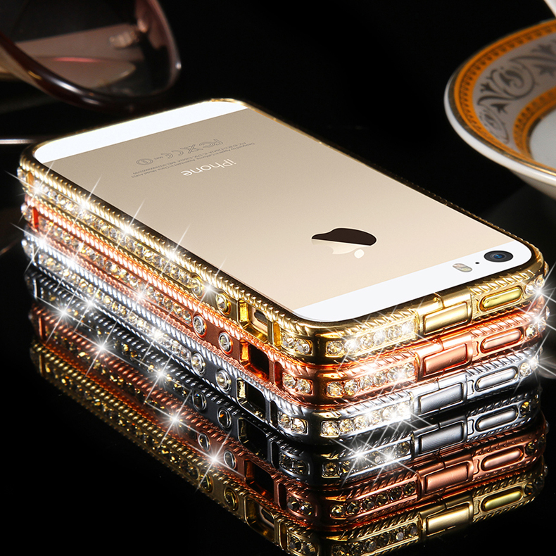 cheap for discount ce8d9 f29b2 5 5S Glitter Bling Rhinestone Diamond Luxury Frame Capa Case For Apple  iphone 5 5S Crystal Hard Gold Cover Shock Proof Shell