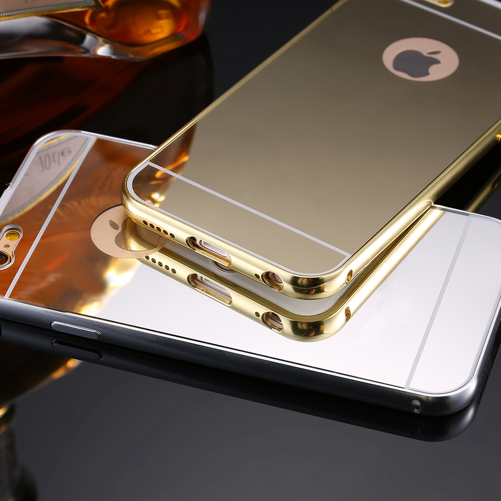 best service 97780 24247 5S Capa Luxury Mirror Metal Aluminum Gold Plating Frame Case For Apple  iPhone 5 5S Luxury Back Hybrid Hard Accessories Cover