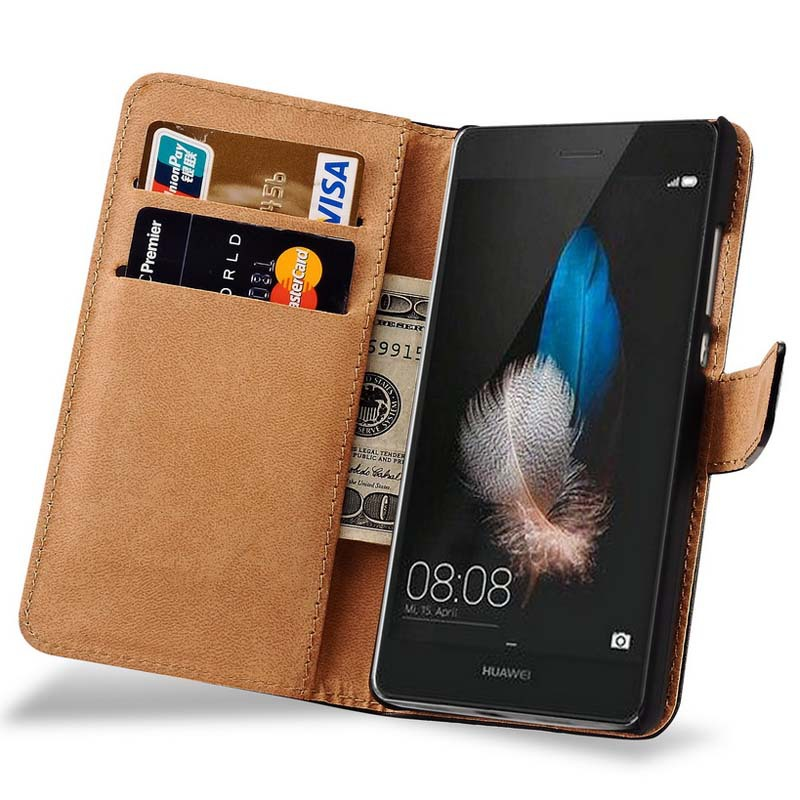 For Huawei P8 Lite Vintage Genuine Leather Wallet Stand Display ...