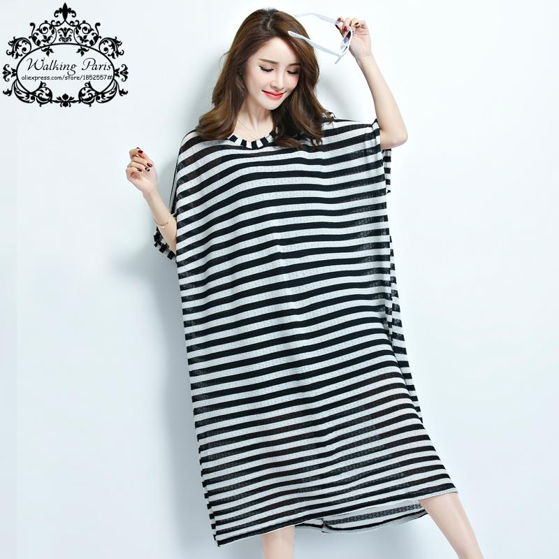 Summer Plus Size Women Dress Casual Black White Striped Print Big Size Long  Tshirt Dresses Oversize Female Fashion Clothing 6XL