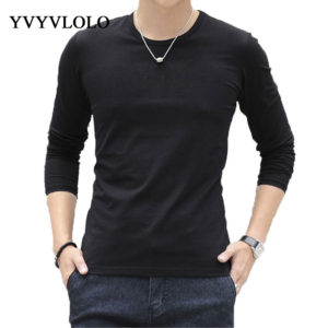 2015 New Men Round Neck Long Sleeved T-Shirts Korean Version Of Trend  Fashion Casual Slim Fit Primer TShirt Homme Brand Clothing 8e06b6fc2a7b